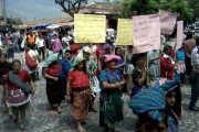 Guatemalan women marching in Antigua. Photo by the author.