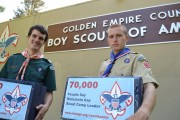 Eagle Scout Tim Griffin and his boss Alex Hayes delivering 70,000 Change.org petition signatures to the Golden Empire Boy Scouts Council, asking the council to reinstate Tim and reject the Boy Scouts' anti-gay policy.