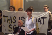 Students at Swarthmore College confronted the Board of Managers earlier this month to address a number of student concerns. (Swarthmore Mountain Justice)