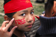 A young activist in Australia shows support for Burma's pro-democracy movement during in 2007. (Flickr / Rusty Stewart)
