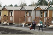 Residents moving in to Quixote Village in Olympia, Wash. (WNV/Quixote Village)