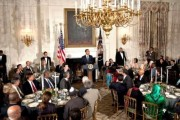 US President Barack Obama speaks at an Iftar meal, the breaking of the Ramadan fast, at the White House in Washington. (AFP)